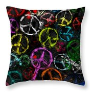 Abstract Peace Signs Collage Throw Pillow