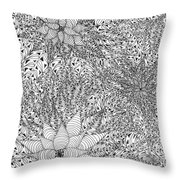 Abstract Pen And Ink Design In Black And White Throw Pillow