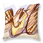 Abstract Pen Drawing Nine Throw Pillow