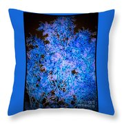 Abstract Pf Tree In Blue And Black Throw Pillow