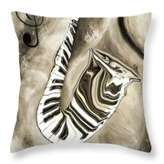 Piano Keys In A Saxophone 3 - Music In Motion Throw Pillow