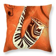 Piano Keys In A Saxophone - Music In Motion Throw Pillow