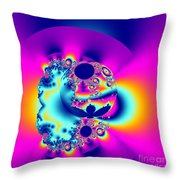 Abstract Pink And Turquoise Fractal Globe Throw Pillow