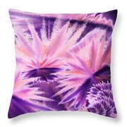 Abstract Purple Flowers Throw Pillow