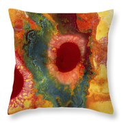 Abstract Red Flower Garden Panoramic Throw Pillow