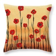Abstract Red Poppy Field Throw Pillow