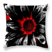 Abstract Red White And Black Daisy Throw Pillow
