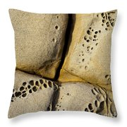 Abstract Rock Pocked With Holes And Divided By Lines Throw Pillow