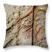 Abstract Rock Stained With Red And Gold Throw Pillow