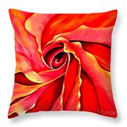 Abstract Rosebud Fire Orange Throw Pillow