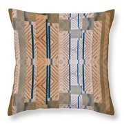 Wood And Blue Throw Pillow