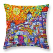 Abstract Santorini Oia Sunset Floral Sky Impressionist Palette Knife Painting  Ana Maria Edulescu Throw Pillow