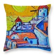 Abstract Santorini Sunset Oia Windmills  Throw Pillow