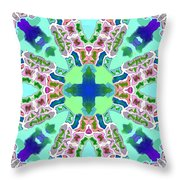 Abstract Seamless Pattern  - Blue Green Purple Pink White Throw Pillow