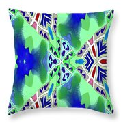 Abstract Seamless Pattern - Blue Green Turquoise Red White Throw Pillow
