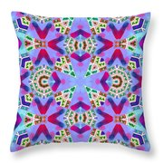 Abstract Seamless Pattern  - Blue Pink Purple Red Green Brown White Throw Pillow