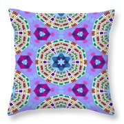 Abstract Seamless Pattern  - Blue Purple Pink Violet Lilac Orange Green Throw Pillow