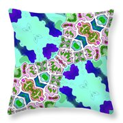 Abstract Seamless Pattern  - Blue Turquoise Green Pink White Throw Pillow