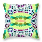Abstract Seamless Pattern  - Yellow Blue Turquoise Purple Pink White Green Throw Pillow