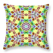 Abstract Seamless Pattern  - Yellow Brown Gray Purple Green Throw Pillow