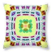 Abstract Seamless Pattern  - Yellow Green Blue Purple White Gray Throw Pillow
