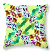 Abstract Seamless Pattern  - Yellow Green Purple Blue Gray White Throw Pillow