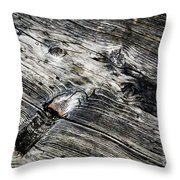 Abstract Shapes On An Old Weathered Wooden Board Throw Pillow