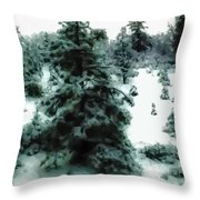 Abstract Snowy Trees Lighter Throw Pillow