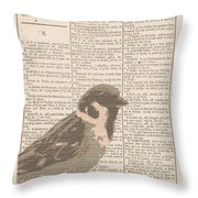 Abstract Sparrow On Dictionary Throw Pillow