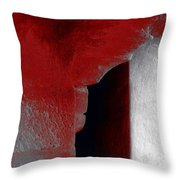 Abstract Square Red Black White Grey Textured Window Alcove 2a Throw Pillow