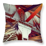 Grunge Steel Beam Throw Pillow
