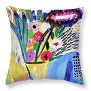 Abstract Still Life With Flowers Throw Pillow