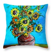 Abstract Sunflowers W/vase Throw Pillow