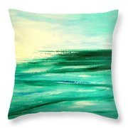 Abstract Sunset In Blue And Green Throw Pillow