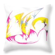Abstract Swan Throw Pillow