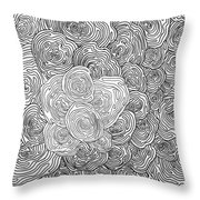 Abstract Swirl Design In Black And White #1 Throw Pillow