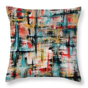 Abstract Teal Crosses Throw Pillow