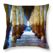 Abstract Under Pier Beach Throw Pillow