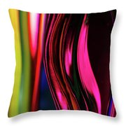 Abstract Verticle Shapes In Green And Red Throw Pillow