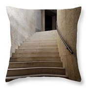 Abstract View Of Stone Curved Staircase At The World War I Monum Throw Pillow