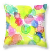 Abstract Watercolor Circles Throw Pillow