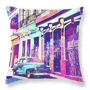 Abstract Watercolor - Havana Cuba Classic Car I Throw Pillow