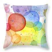 Abstract Watercolor Rainbow Circles Throw Pillow