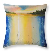 Abstract Waterfall At Sunset Throw Pillow