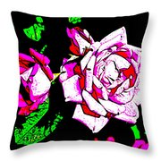 Abstract White Red And Pink Roses Throw Pillow