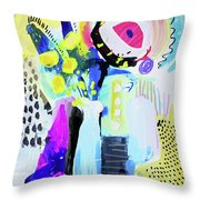 Abstract Wild Flowers Throw Pillow