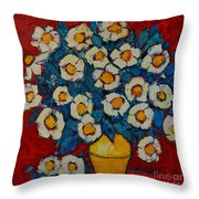 Abstract Wild White Roses Original Oil Painting Throw Pillow