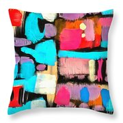 Abstract Wine Bottles Blue Red Throw Pillow