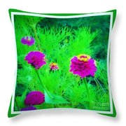 Abstract Zinnias In Green And Pink Throw Pillow