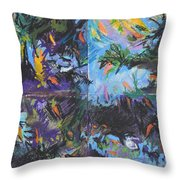 Abstracted Koi Pond Throw Pillow
